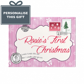 Pink Baby's first Christmas hardback memory book by from you to me