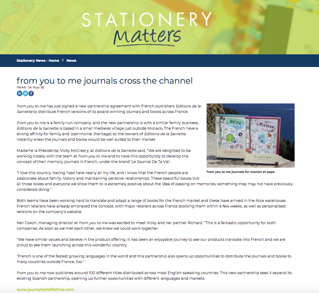 Stationery Matters article on French Partnership
